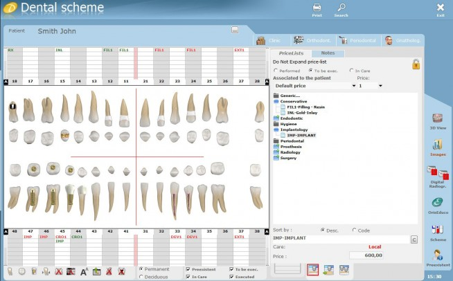 Display the customized dental scheme of the patient with all the treatments and their status.