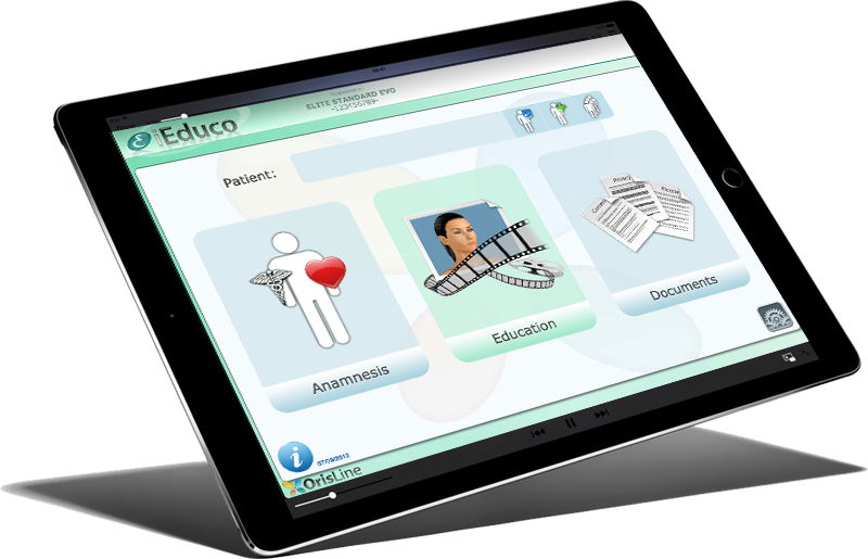 Anamnesis, consent form and educational videos on iPad